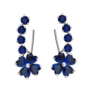 QUKE Woman Blue Sapphire-colour Flower Cubic Zirconia Crystal Cuff Wrap Ear Vines Climbers Earrings Jewellery