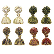 Bollywood Style Ethnic Traditional Gold Plated Colourful Antique Feel Jhumka Earrings IndiA
