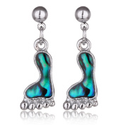 Barch Young Genuine Shell Footprint Earrings Dangle Earrings Silver Colour