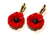 Peace Poppy Drop Earrings, Enamel Gold Plated with 18ct Gold Highlights set with Crystal
