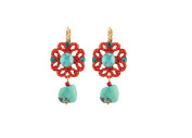 """SATELLITE Women's """"Stromboli"""" Gold Plated Brass Red Flora Turquoise Centre Drop Earrings"""