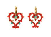 """SATELLITE Women's """"Stromboli"""" Gold Plated Brass Red Heart with Turquoise Stones Drop Earrings"""