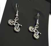 Purposefull- Silver Bicycle Dangle Earrings-Great For Cyclists.