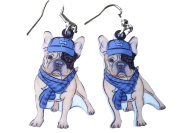 Colourful French Bulldog w/ Scarf & Hat Dangle Earrings by Pashal