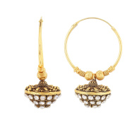 Antique Designer Indian Look alike Diamond Studded Bollywood Bali Earrings