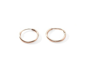 Premium Rose Gold Plated Sterling Silver Small Endless Hoop Earrings Cartilage Nose Lips .47 Inch 12mm