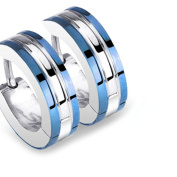 Double Blue 1 Pair of Stainless Steel Classic Creole Earrings with Two Blue Rings Design