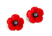 The 5 Petal Poppy Small Stud Earrings, Enamel Rhodium Plated set with Crystal