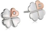 D for Diamond Clover Stud Earrings