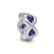 Charm Bead Spacer - .925 Sterling Silver, Purple Crystal