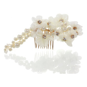 SHMILY 100% Handmade Wedding Pearl Rhinestone Hair Comb For Wedding New Style Gold Flowers White HS0014
