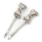 2 Bridal/ Prom Simulated Pearl Crystal 'Bow' Hair Grips/ Slides In Rhodium Plating - 50mm Across