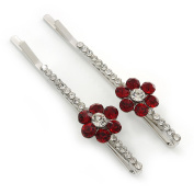Pair Of Red/ Clear Crystal 'Daisy' Hair Slides In Rhodium Plating - 55mm Length