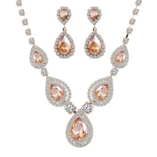 Lianjie® Women Crystal Rhinestone Necklace Earrings With Gold Drop Jewellery Set 1pc Necklace + 1 Pair Of Earrings