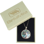 BellaMira Silver Abalone Tree of Life Necklace or Earrings Set (as chosen) Inlaid With Natural Paua Shell Responsibly Sourced From New Zealand Gift Boxed Jewellery