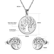 LUXUSTEEL Mother's Day Gifts,Hot Sale Summer Tree Pendant Necklace and Earring Studs Set for Woman