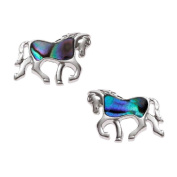 BellaMira Abalone Horse Silver Necklace or Earrings (as chosen) Inlaid with Natural Paua Shell Gift Boxed