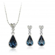 18ct Gold Finish Spectacular Jewellery Set with Sapphire Crystals High quality gift
