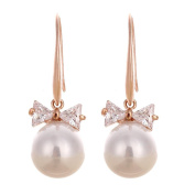 Rose Gold Tone And Crystal Bow Pearl Drop Earring