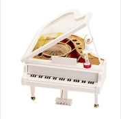 URGrace White Piano Music Box Wtih Dancer Clockwork Type Rotary Classical Mechanical Unique Musical Toy Ballerina Girl On The Piano Dancing Ballerina Music Box Valentines Birthday Xmas Gifts Home Decro