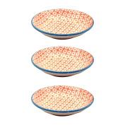 Soy Sauce Dipping Tapas Saucer / Teabag Holder 101mm Orange / Blue X3