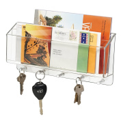 Mdesign Divided Mail Organiser And Key Hooks For Home, Office, Kitchen, Entryway