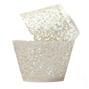 Cupcake Wrappers 100 Filigree Artistic Bake Cake Paper Cups Little Vine Lace Cut