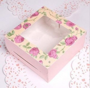 10 X Cupcake Boxes With Display Window Flower Pattern Design Holds 4 Cakes