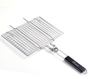 Wolfwise Portable Bbq Grilling Basket 430 Stainless Steel Foldable Wooden Handle