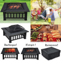 Outdoor Fire Pit Firepit Patio Heater Brazier Garden Square Stove Burner Bbq New