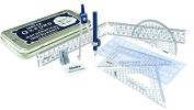 Helix Oxford Maths Set Tin B43000 9pc Ruler Set Squares Eraser Sharpener Compass