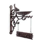 Vintage Brown Cast Iron Wall Bracket Garden Bird Feeder & 'welcome' Sign