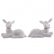 Set Of Two Glazed White Porcelain Christmas Deer Fawn Doe Figurine Ornaments