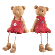 Set Of Two Cute Shelf Edge Sitting Christmas Bear Ornaments In Red Jumpers