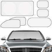 Xcellent Global 6 Pcs Pro Shade Sunshield UV Reflecting Fabric Car Windshield Protector,Silver AT027