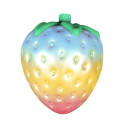 JoyJay 1 PC Soft Squishy Rainbow Strawberry Scented Super Slow Rising Kids Toy Strap Squishy Toys Slow Rising Party Favours