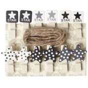 Assorted Black White Grey Stars Mini Wooden Pegs Clip Kids Craft Party With Line