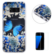 Samsung Galaxy S8 Case Clear,[with Free Screen Protector] KaseHom Premium Ultra Slim Silicone TPU Gel Cover Beautyful Multicolor Unique Oil Painting Design Scratch Resistant Bumper Shock Absorption Protective Rubber Transparent Skin Shell for Samsung G ..