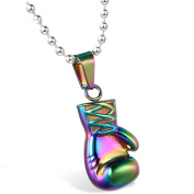 MENDINO Mens Boxing Gloves Pendant Stainless Steel Necklace Rainbow Colour Polished Christian Everlast With 60cm Link Chain