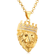 "LUXUSTEEL ""ROAR"" Men's 3D Lion King Head Pendant Necklace Gold/Silver Colour,with 60cm O Linked Chain"