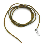 Unbespielt Leather cord necklace for Pendant khaki for men and women. Locking carabiner closure silver coloured length 1 m shortened width 2 mm. Including jewellery box