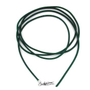 Unbespielt Leather cord necklace for Pendant green for men and women. Locking carabiner closure silver coloured length 1 m shortened width 2 mm. Including jewellery box