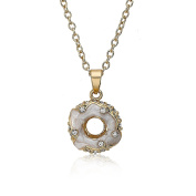 """Molly Glitz """"""""Sparkle Sweet"""""""" 14k Gold Plated Marbleized Coral Enamel Donut with Studded Crystals Pendant Necklace"""