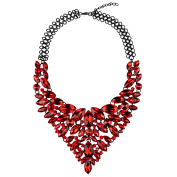 Hamer Women's Rhinestone White Red Blue Love Silver Plated Statement Necklaces Jewellery Handmate Crystal Zinc Alloy Party for Girls Inner Perimeter 48cm Extend Chain 6cm Weight 170ml