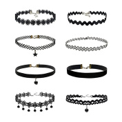 BESTIM INCUK 5-8 Pieces Choker Necklace Set Stretch Velvet Classic Gothic Tattoo Lace Choker Necklaces with Pendant, Black