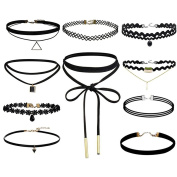 BESTIM INCUK 8-10 Pieces Choker Necklace Set Stretch Velvet Classic Gothic Tattoo Lace Choker Necklaces with Pendant, Black