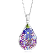 Sterling Silver Large Tear Drop Pendant Made With Real Flowers Purple Mix