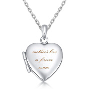 """IXIQI Jewellery Heart Locket """" Mother's Love is Forever Mum """" Heart Infinity Love Locket Necklace Necklaces Gifts Present for Women Can Open For Photo 46cm Titanium Chain"""