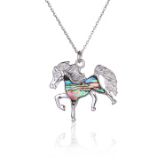 Barch Young Charming Abalone Blue Paua Shell Horse Pendant with Silver Necklace on Stainless Steel Chain and Wax Leather Cord of Length 46cm
