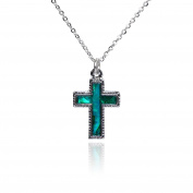 Barch Young Blue Abalone Paua Christian Crucifix Pendant with Silver Necklace of Length 46cm Chain Religious Cross jewellery